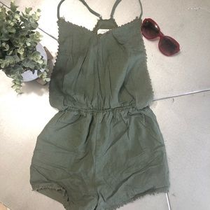 LOVE TREE olive green romper outfit open sides S